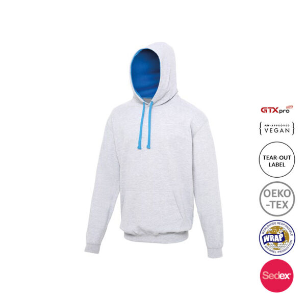 Two Colour Hoodie - Griffin Designs - Heather Grey - Sapphire blue