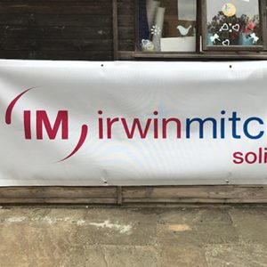 White reusable banner for Irwin Mitchell