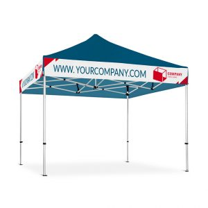 blue gazebo with a white banner design