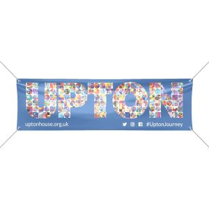 Bright blue vinyl banner design for upton school