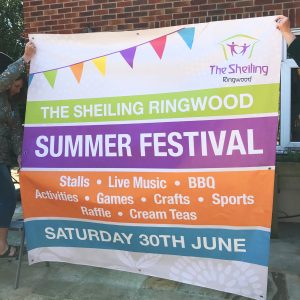 A colourful reusable banner for a summer festival in Ringwood