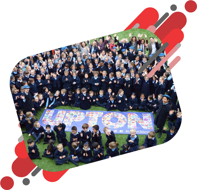Upton School children around a full colour printed school banner