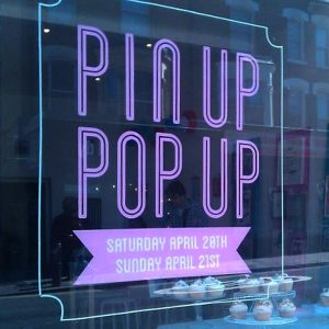 pin up pop up shop window graphics