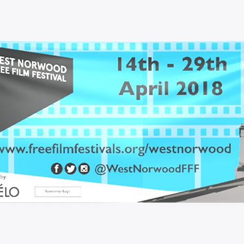 Blue and black banner designed for West Nortwood Film Festival Banner