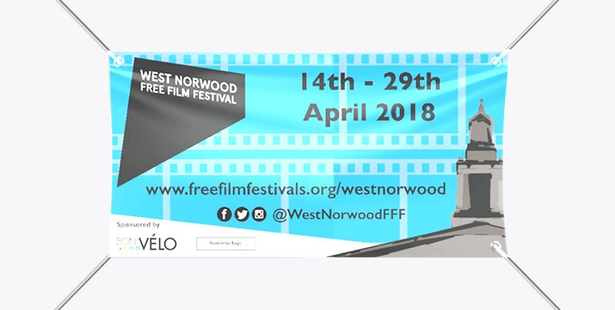 Blue and black banner designed for West Nortwood Film Festival Banner