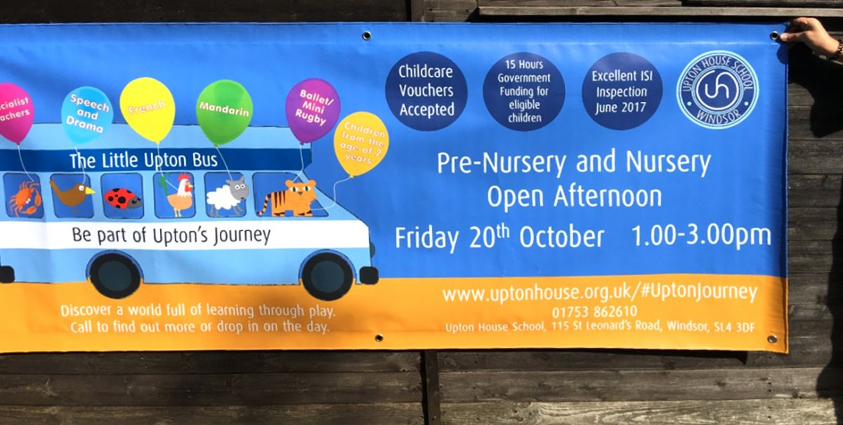 Colourful reusable banner for a school open afternoon at Upton School