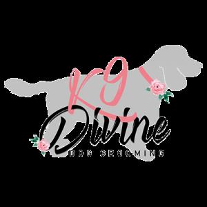 Diving dog grooming logo