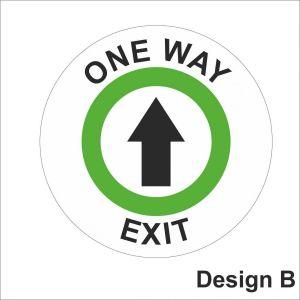Circular green exit sign