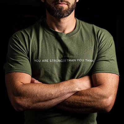 man with crossed arms wearing military green You are stronger than you think T Shirt