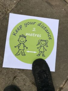 Kid friendly social distancing stickers