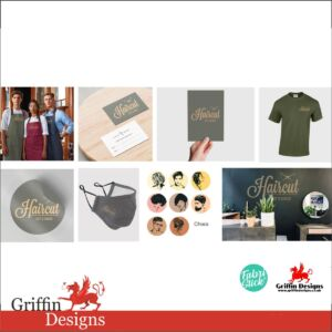 Full package for Barber or Hairstylist salon including clothing, branding and marketing products